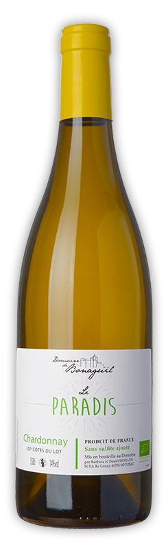 Le Paradis, vin blanc, Chardonnay, Domaine de Bonaguil - Vin IGP Côtes du Lot